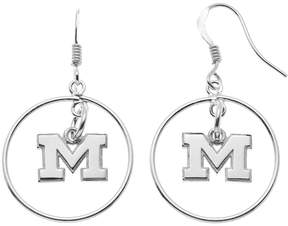 Dayna U Michigan Wolverines Sterling Silver Logo Charm Hoop Drop Earrings