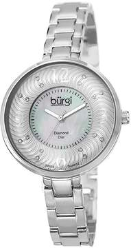 Burgi Pink Mother of Pearl Diamond Dial Silver-Tone Brass Ladies Watch