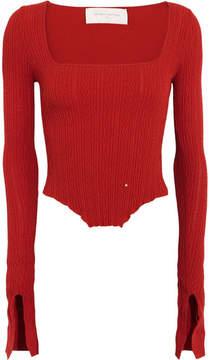 Esteban Cortazar Kira Asymmetric Stretch-knit Top - Red