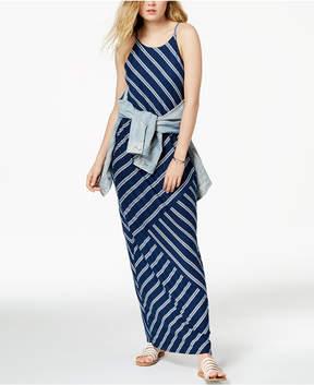 BCX Juniors' Striped-Knit Blouson Maxi Dress
