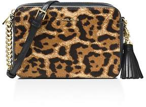 MICHAEL Michael Kors Ginny Leopard Print Medium Calf Hair Camera Bag - LEOPARD/GOLD - STYLE