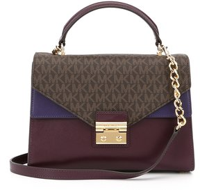 MICHAEL Michael Kors Sloan Colorblocked Top-Handle Chain Satchel - BROWN/DAMSON/IRIS - STYLE