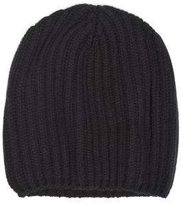 Drakes Drake's Cashmere Ribbed Beanie in Black
