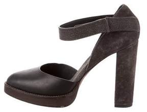 Brunello Cucinelli Monili Ankle-Strap Pumps