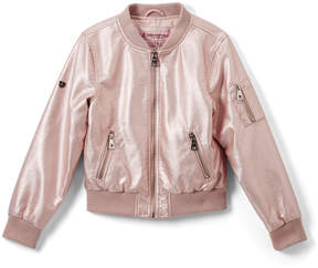Urban Republic Rose Metallic Faux Leather Bomber Jacket - Infant & Girls
