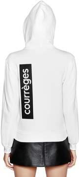 Courreges Hooded Zip-Up Cotton Sweatshirt