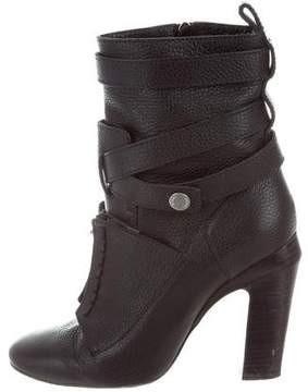 Fendi Leather Lace-Up Ankle Boots