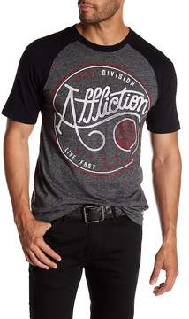 Affliction Short Raglan Sleeve Graphic Print Tee