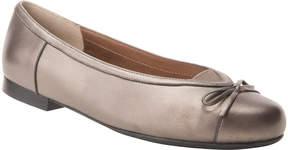 Ros Hommerson Pewter Metallic Oriel Leather Flat - Women
