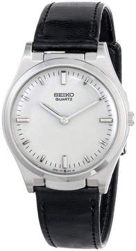 Seiko Mens Stainless Steel Leather Strap Braille Watch S23159