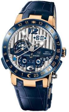 Ulysse Nardin El Toro GMT Silver Dial 18kt Rose Gold Blue Leather Men's Watch