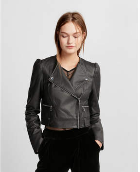 Express puff sleeve cropped (Minus the) leather jacket