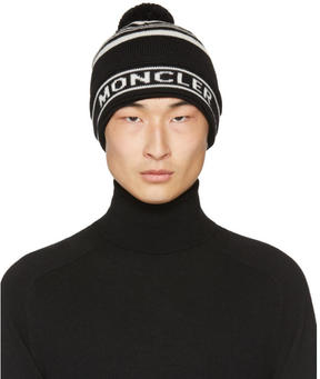 Moncler Black Striped Pom Pom Beanie