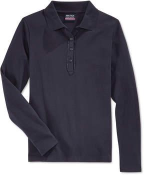 Nautica School Uniform Ruffled Long-Sleeve Polo Shirt, Big Girls