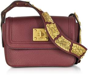 RED Valentino Wine Pebble Leather Sin Crossbody Bag