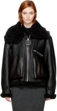Acne Studios Black Leather and Shearling Lore Jacket