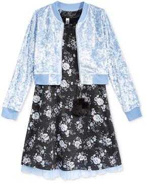 Beautees 2-Pc. Floral Shift Dress & Bomber Jacket Set, Big Girls (7-16)