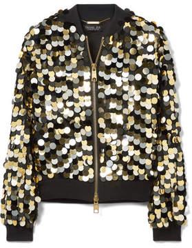 Rachel Zoe Emilia Ribbed-jersey Trimmed Sequined Crepe Bomber Jacket - Gold