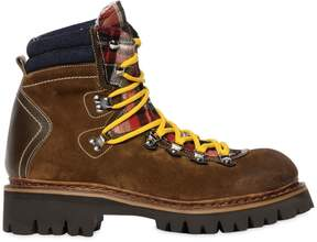 DSQUARED2 50mm Suede & Check Hiking Boots