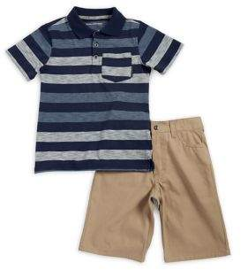 Calvin Klein Jeans Little Boy's Two-Piece Stripe Polo and Cotton Shorts Set