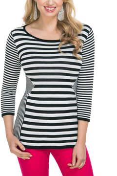 Belldini White & Black Stripe Top - Women