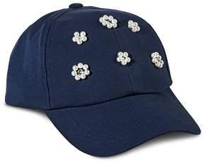 Merona Women's Baseball Cap with Beaded Flowers Navy