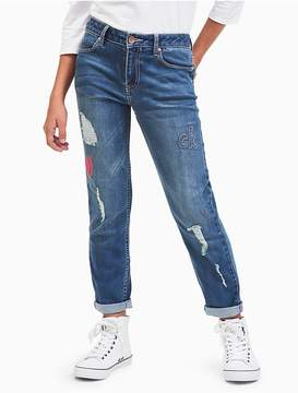 Calvin Klein Jeans Girls Boyfriend Fit Patched Jeans