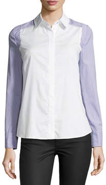 Milly Taylor Long-Sleeve Button-Front Striped Shirting Top