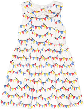Rachel Riley White Colourful Bunting Frill Dress