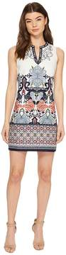 Laundry by Shelli Segal Printed Embroidered Sleeveless Shift Dress with Beaded Neckline Women's Dress