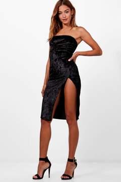 boohoo Bandeau Velvet Thigh Split Midi Dress