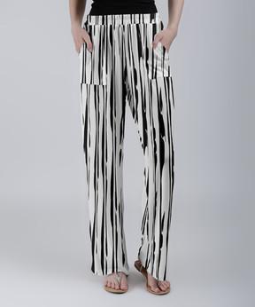 Lily White & Black Shifting Stripe Palazzo Pants - Women & Plus
