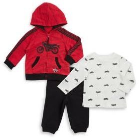 Little Me Baby Boy's Three-Piece Heather Jacket, Tee, and Pants Cotton Set