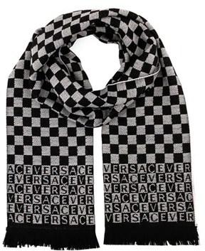 Versace It00628 Bianco White 100% Wool Mens Scarf.
