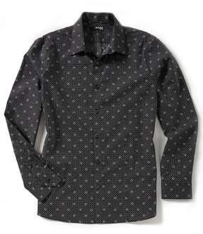 Murano Slim-Fit Dot Print Long-Sleeve Woven Shirt