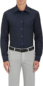 Luciano Barbera Men's Plaid Cotton Poplin Shirt