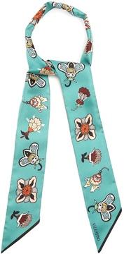VALENTINO Floral-print skinny silk scarf