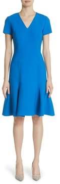 Carolina Herrera Flutter Hem Wool Blend Sheath Dress
