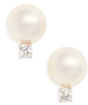 Mikimoto Women's Akoya Pearl & Diamond Stud Earrings