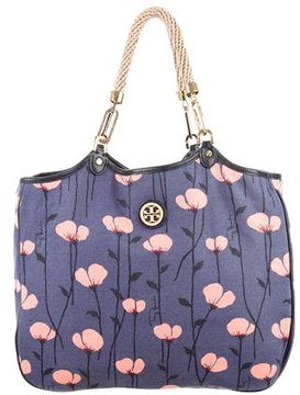 Tory Burch Channing Floral-print Canvas & Leather Tote - BLUE - STYLE