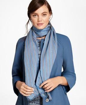 Brooks Brothers BB#1 Stripe Silk-Blend Oblong Scarf
