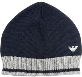 Armani Junior Cotton & Wool Blend Knit Beanie Hat