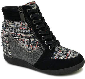 Bamboo Black Tweed Bethany Wedge Sneaker