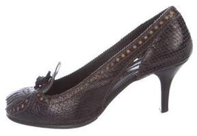 Henry Beguelin Embossed Round-Toe Pumps