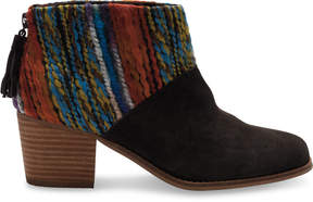 Toms Chocolate Suede Multi Textile Leila Booties
