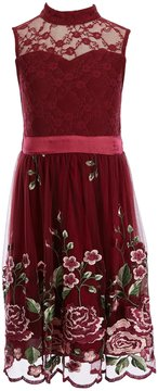 Xtraordinary Big Girls 7-16 Lace Floral Embroidery Fit-And-Flare Dress