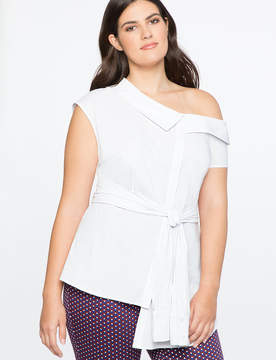 ELOQUII Asymmetric Button Up Top