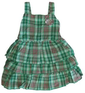 Carter's Little Girls Green Plaid Sequin Heart Adornment Sleeveless Dress 4-6X
