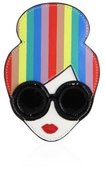 Alice + Olivia Rainbow-Print Leather Stace Face Card Case