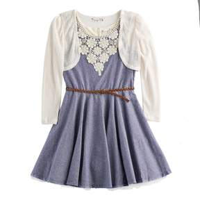 Knitworks Girls 7-16 Crochet Shrug & Crochet Neckline Belted Chambray Skater Dress Set